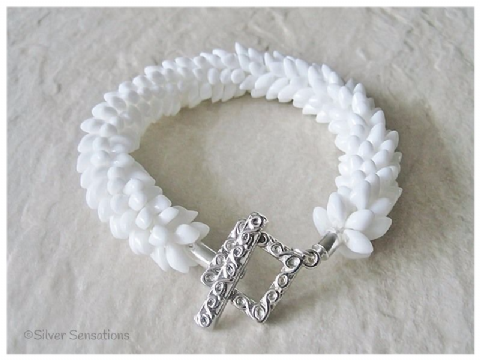 Snowy White Petals Kumihimo Designer Seed Bead Fashion Bracelet